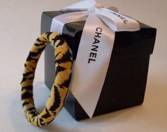 Animal Print Designer Wrapped Bangle Bracelet  LJO Collection Jewelry