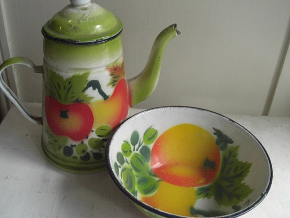 Vintage Enamel Metel Pitcher and Bowl with Painted Apples