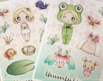 Thumbelina paper doll - made to order