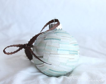 Handcrafted Christmas Ball - Light Blue and Brown Stripes - Decoupage Ornament