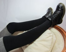 Cashmere Thigh High Over the Knee Socks Black Cotton Blend Leg Warmers A844/23