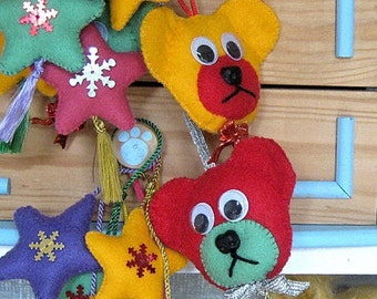 Christmas Decorations -  Teddy Bear Decorations - Stars Tree Hanger - Christmas Tree