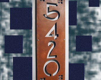 CUSTOM Craftsman Ultra-Wide Vertical House Numbers in Rusted Steel