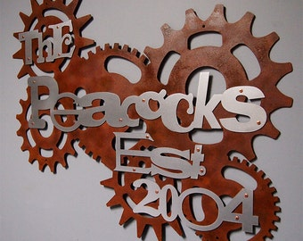 Steampunk Family Sign in Rusted Steel & Stainless