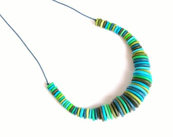 green-blue stripy polymer clay statement necklace The Stripes 2 adjustable chunky bib necklace one-of-a-kind