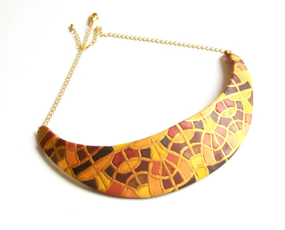 Reserved - Statement bib choker necklace art deco style fall colors polymer clay necklace crescent shaped gold bronze cinnamon honey