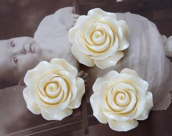 4 pcs Big  Beautiful  Colorful Rose Flower Resin Cabochon   - -30mm(CAB-DH-10)