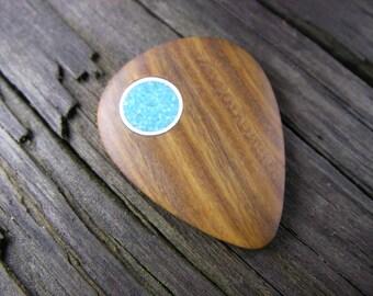 Boutique Lignum Vitae and Turquoise Guitar Pick