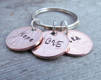 3 Penny Key Chain Hope Faith Love Personalized Hand Stamped Jewelry Charm Lucky Great Gift 2017 Pennies WEDDING ANNIVERSARY BIRTHDAY Gift