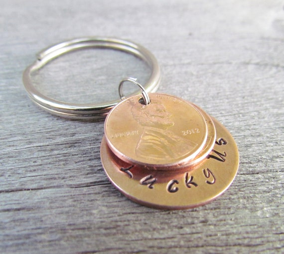 4 Pennies Lucky Us Keychain Key Chain Penny Hand Stamped Charm Stacked Penny 1950 to 2018 Anniversary Wedding Gift