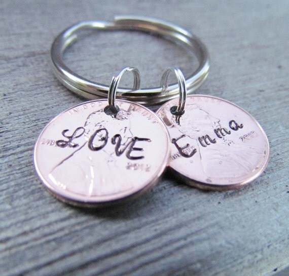 2 Penny Key Chain Hand Stamped Charm Custom Name Lucky Personalized For You Key Ring 1950 to 2016 Pennies