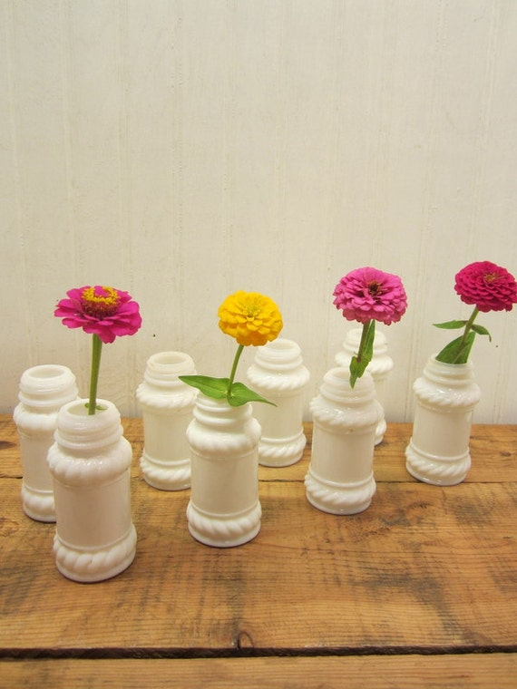 Reserved for Jessica Williams - Set of Eight Vintage Milk Glass Spice Jars without lids
