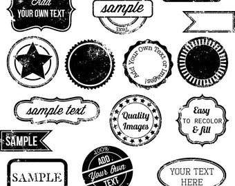 Stamps Clipart Clip Art, Vintage Postage Badge Label Frame Clipart Clip Art - Commercial and Personal