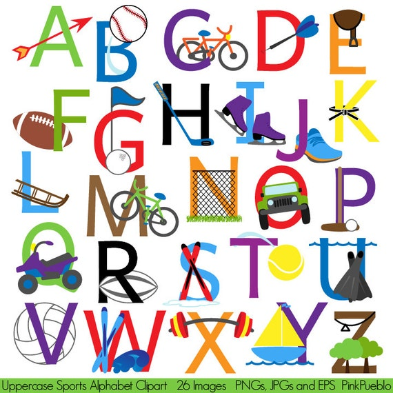 sports alphabet font with sports letters clipart clip art