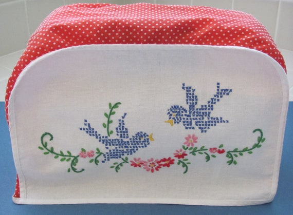 vintage toaster cover with embroidered bluebirds
