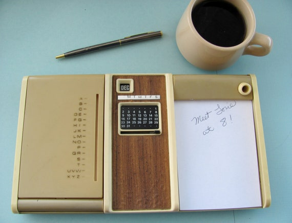 RESERVED for Kelley - vintage telephone list finder index address directory with perpetual calendar, notepad