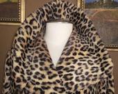 1950s Leopard Cheetah Faux Fur Coat