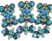 Six 2 Hole Slider Beads Sapphire, Blue Zircon, Aqua Marine & Peridot AB Fancy Victorian Flowers