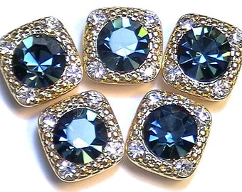 Five 2 Hole Slider Beads 2 Hole Spacer Beads 8mm Montana Blue & 2mm Clear Austrian Crystals In Gold Tone 2 Hole Crystal Bead Rhinestone Bead