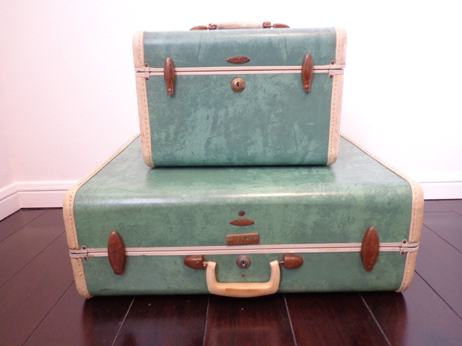 Vintage Luggage Green Samsonite Small Suitcase And By