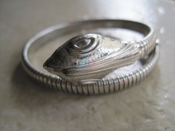 Vintage Silver Tone Snake Bracelet - Gas Pipe - Double Coil - 1920s - Art Deco Jewelry
