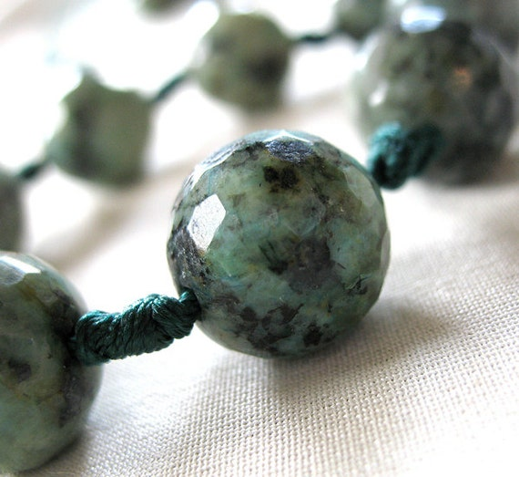 "LAST ONE Micro Faceted Teal Blue Green with Black Speckle Round Stone Beads, large 14mm, 7"" knotted strand, 9 beads"