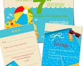 PRINTABLE SET - Pool Party, Swimming Party Birthday Invitation Bundle Pack (Pool Party - Boy)