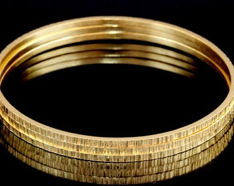 Sil-BG-003 Handmade 3 square line wire hammer 24K gold vermeil over sterling silver stacking bangles