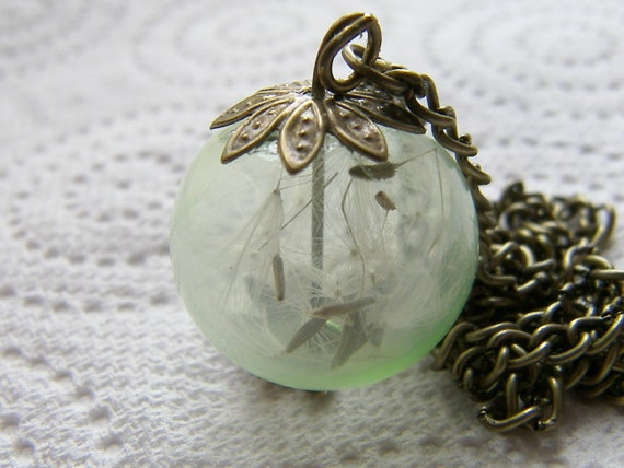Real Dandelion Necklace Hand Blown Green Glass Orb Bead Globe - MAKE A WISH