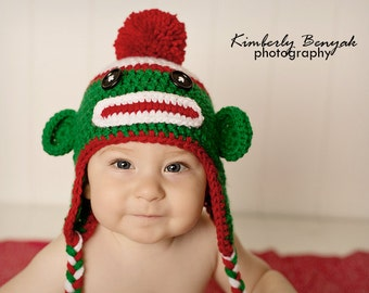 Christmas Baby Hat, Christmas Sock Monkey Hat,  Baby Hat, Newborn Unique Photo Prop Select Your Size