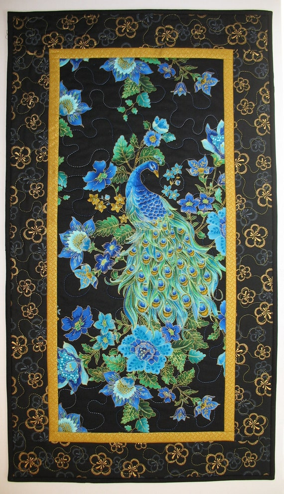 Peacock Quilted Wall Art in Timeless Treasure Plume  Fabric Line