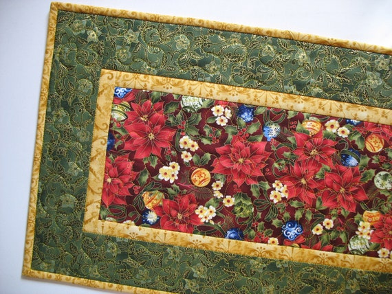 Poinsettia Table Runner Quilted