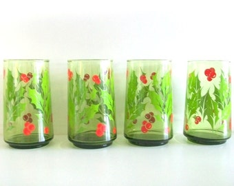 Libbey Holiday Holly Drinking Glasses Set of Six