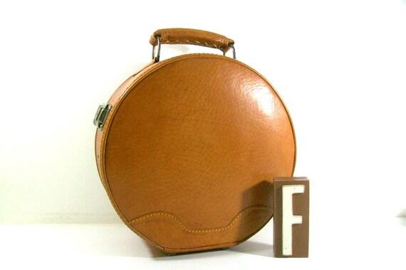 Round Vintage Brown Luggage Travel Case