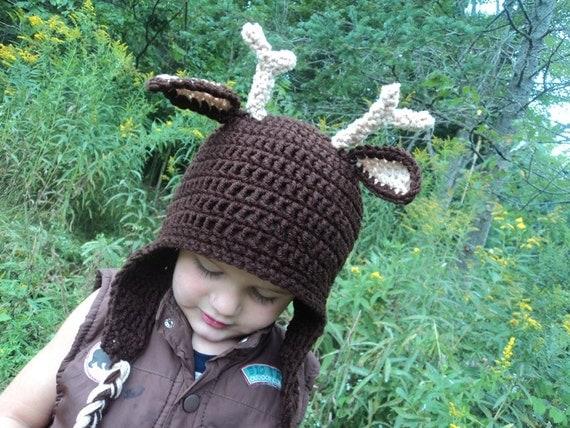 Deer Hat- buck whitetail antler hunting 4 pointer- newborn to 18 month sizes