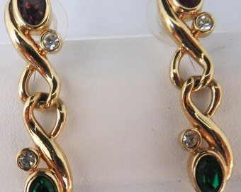 Vintage jewelry earrings in gold with Swarovski purple green and clear crystals pierced Swarovski earrings Sale half off