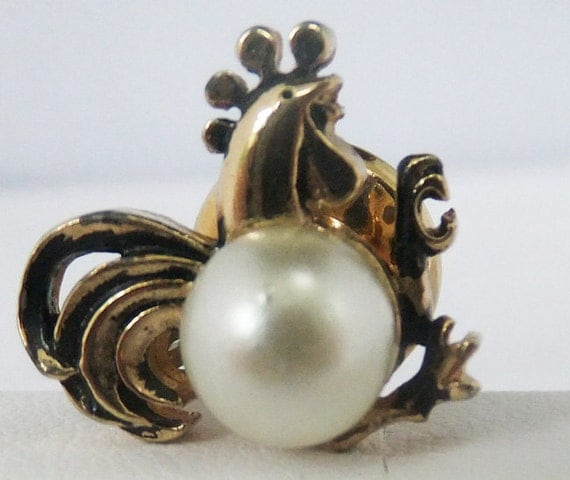Vintage jewelry tie tack in a Rooster Motif in gold tone with white simulated pearl body Sale half price
