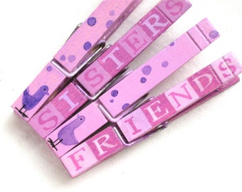 SISTER AND FRIEND birds hand painted magnetic clothespins