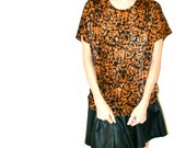 Vintage Animal Print Shirt Size Medium// Vintage Leopard Print Top Blouse