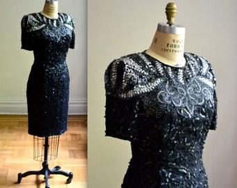 Vintage Black Sequin Dress Size Medium// VIntage Sequin and Beaded Dress Size Medium Flapper Style Art Deco