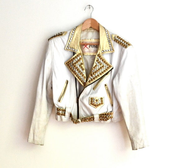 Amazing Vintage 80s Gold and White Leather Jacket with Rhinestones and Gold Studs, Size Medium// Metallic GOLD Studded Leather Jacket