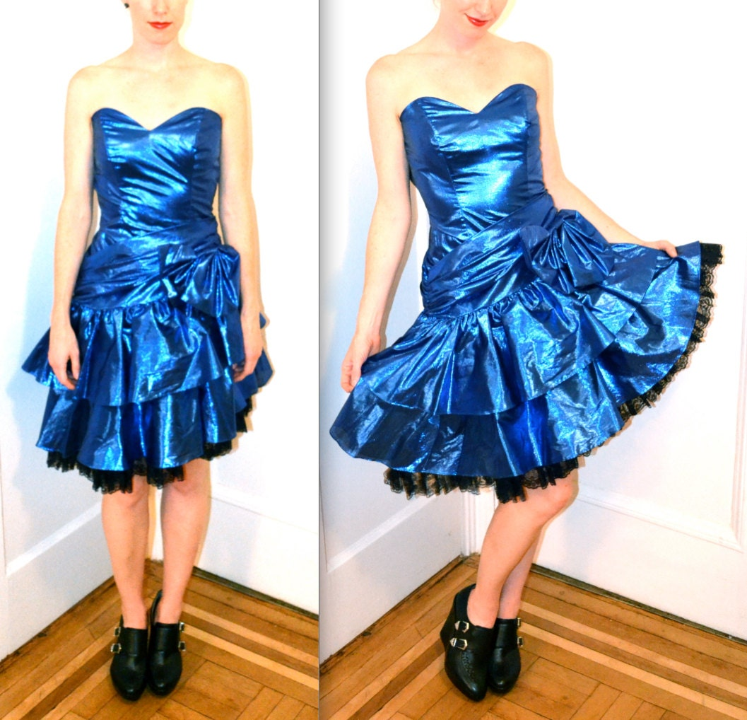 Blue Metallic 80s Prom Dress Size Small// Blue Lame 80s Prom | 1057 x 1018 jpeg 252kB