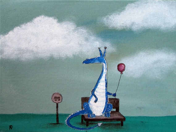 Fairy Tale Dragon Painting, Nursery Art, Storybook Style Children Decor, Kids Wall Art, Original Acrylic Painting