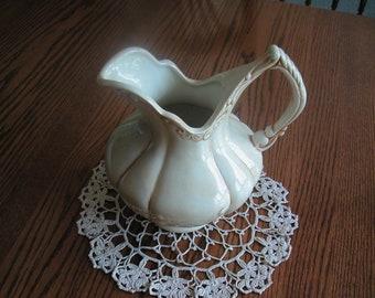 Ceramic Pitcher and Ecru Cotton Doily - 9 inches in diameter