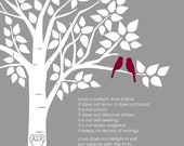 "Personalized Custom 1 Corinthians 13 Love Birds Family Tree - Wedding Gift or First Anniversary Paper Gift - 8""x10"" (Gray/Burgundy)"