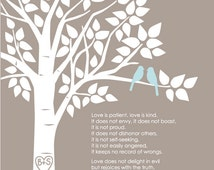 """Personalized Custom 1 Corinthians 13 Love Birds Family Tree - Wedding Gift or First Anniversary Paper Gift - 8""""x10"""" (Taupe/Pale Blue))"""