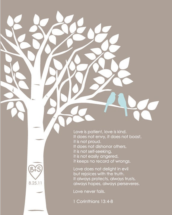 "Personalized Custom 1 Corinthians 13 Love Birds Family Tree - Wedding Gift or First Anniversary Paper Gift - 8""x10"" (Taupe/Pale Blue))"