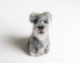 tiny needle felted Schnauzer