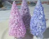 "3 bottle brush trees PURPLE SHADES lavender violet periwinkle 4"" FLOCKED vintage shabby cottage inspired"