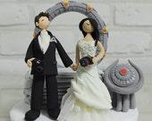Star gate custom wedding cake topper decoration keepsake